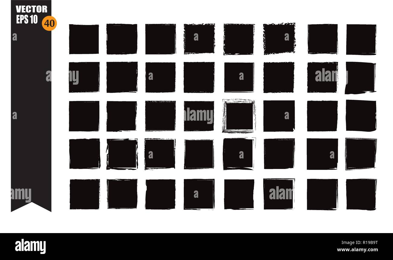A set of frames, black squares, textural lines, also brushes. Stock Vector