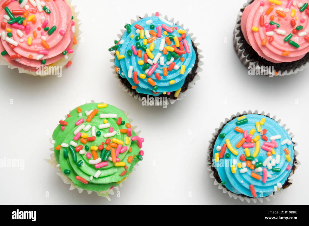 Top View Of Beautiful Delicious And Colorful Muffins For Kids Party