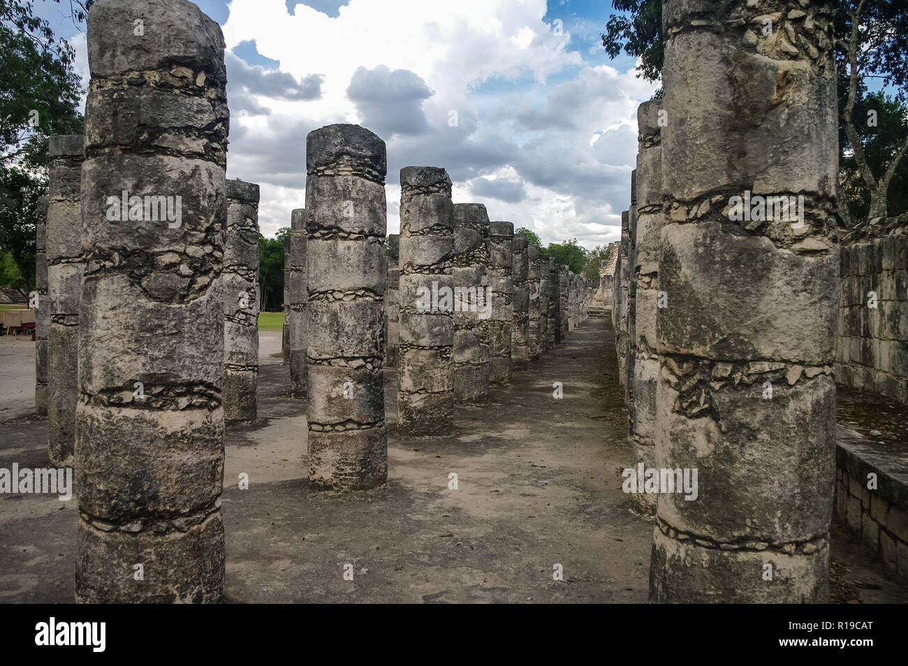Chichen Itza, Columns in the Temple of a Thousand Warriors, Mexico - Stock Image
