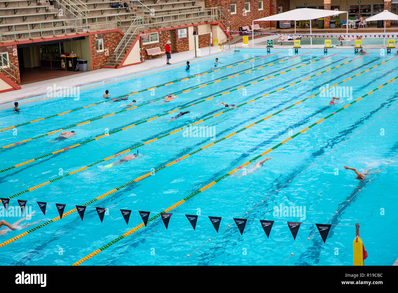 People swimming in the public swimming pool at Milsons Point