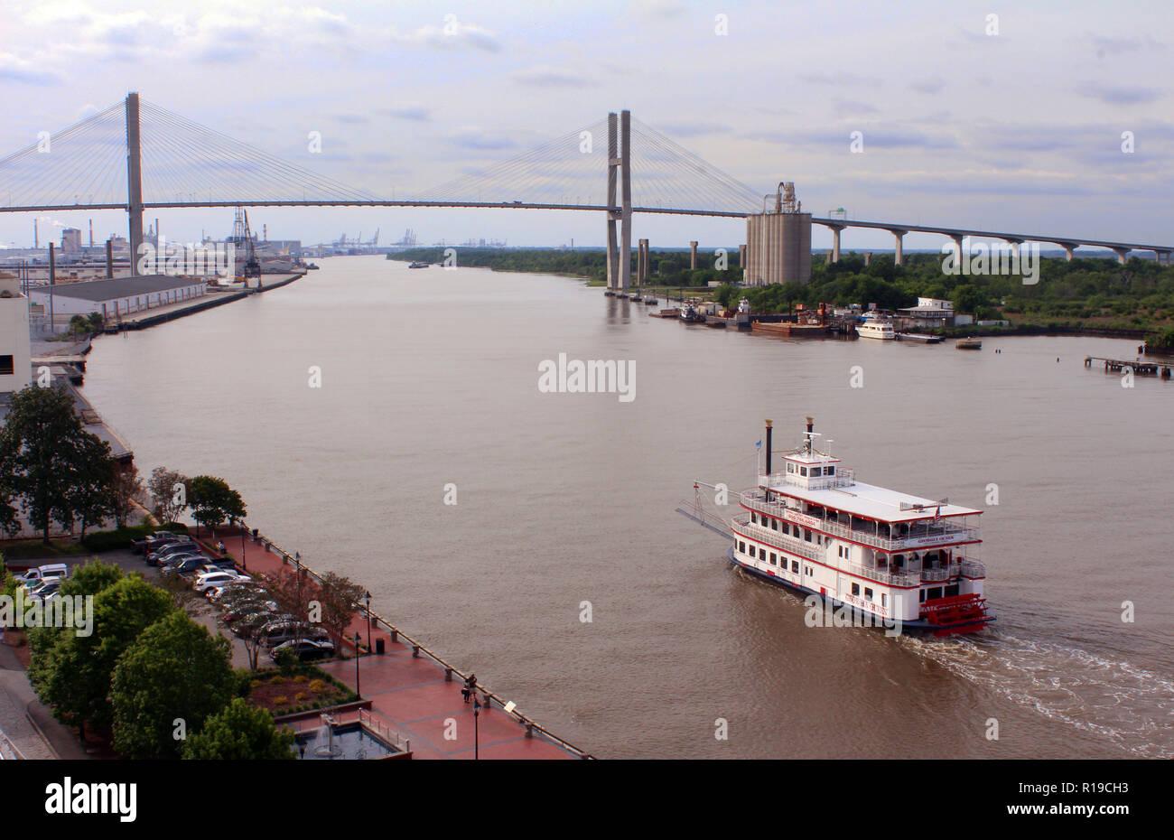 View of Savannah River channel and Talmadge Memorial Bridge from above historic River Street, Savannah, Georgia - Stock Image