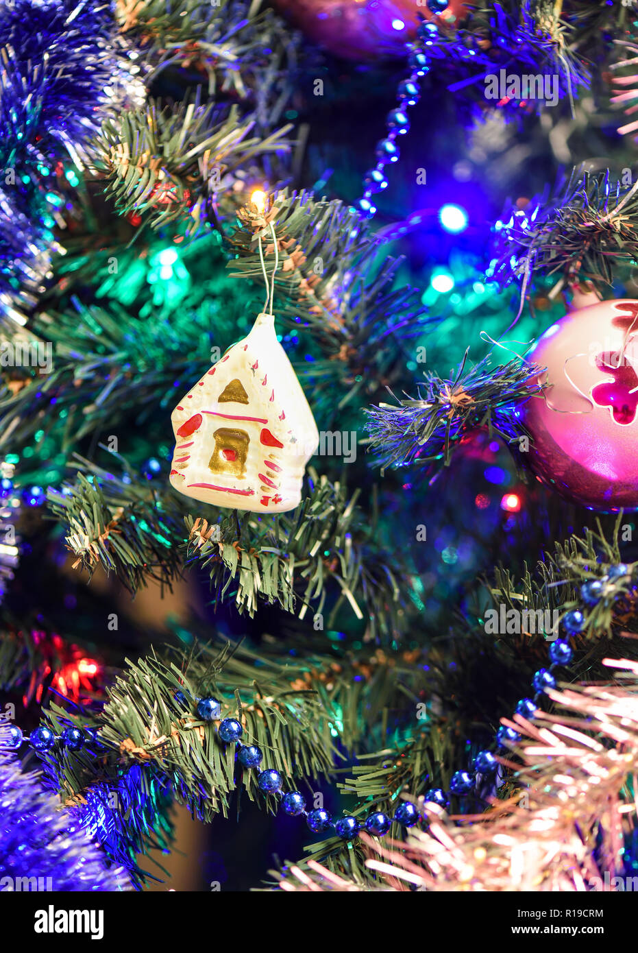 Christmas tree toy sugar house  Old Christmas toys concept