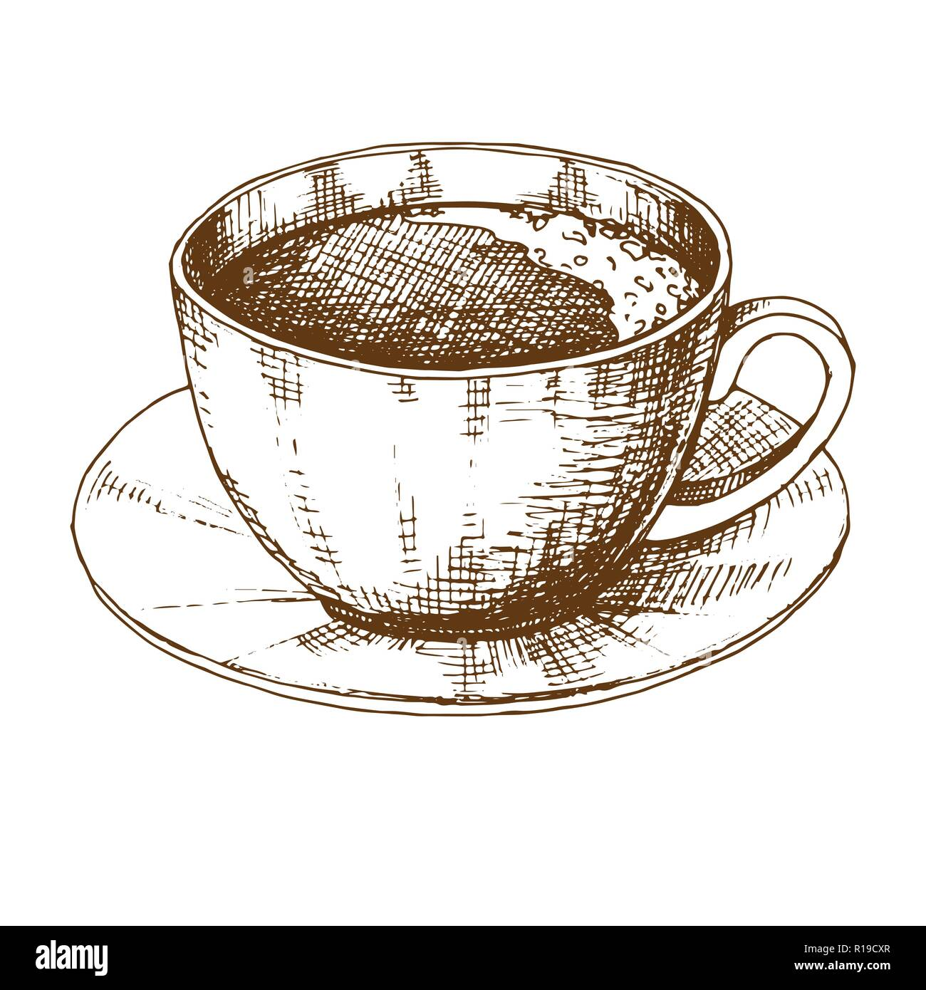 Sketch Of A Cup Of Coffee On A Saucer Vector Illustration Of A Sketch Style Stock Vector Image Art Alamy
