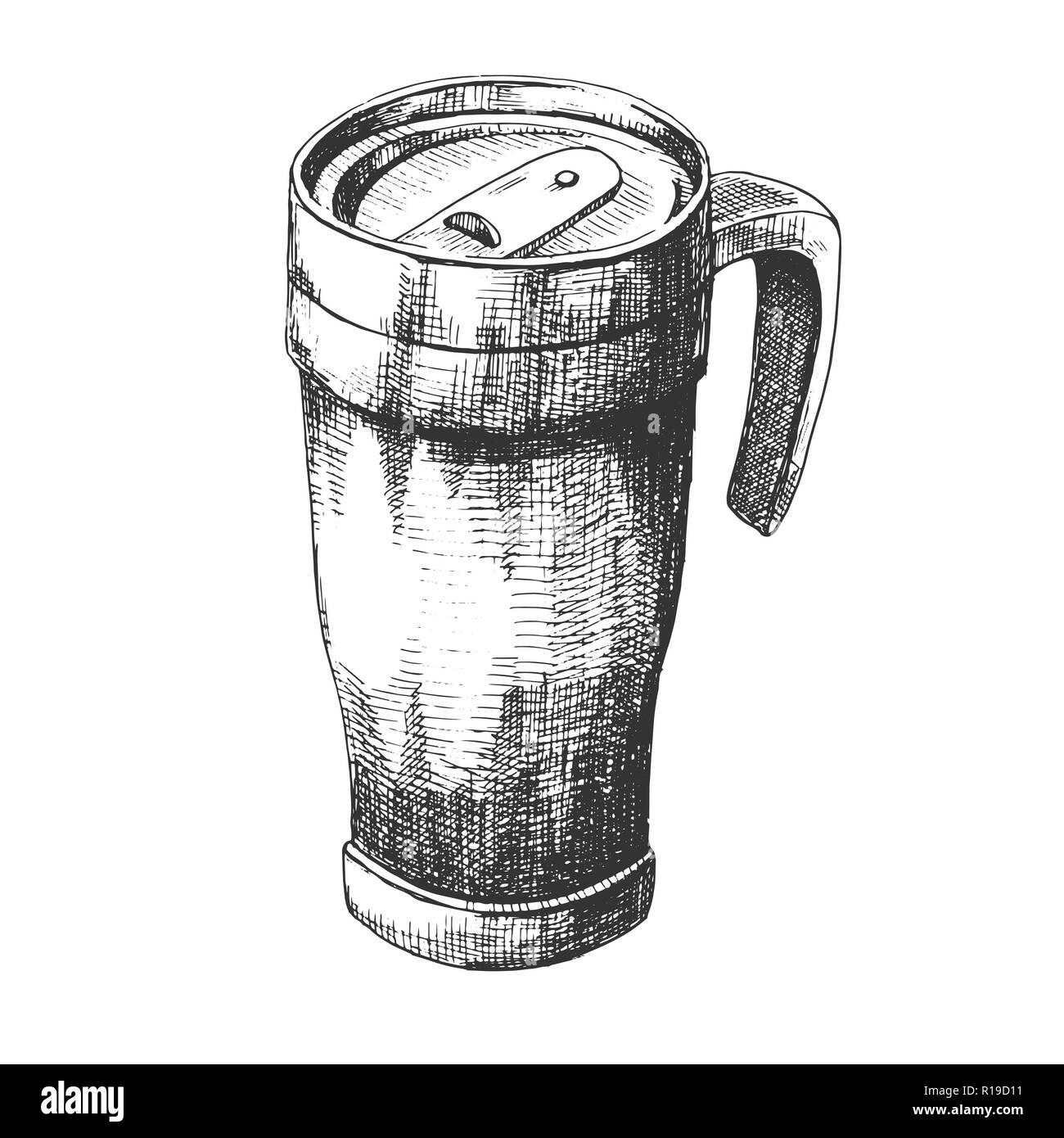 Sketch Travel Mug Travel Mug Isolated On White Background Stock Vector Image Art Alamy