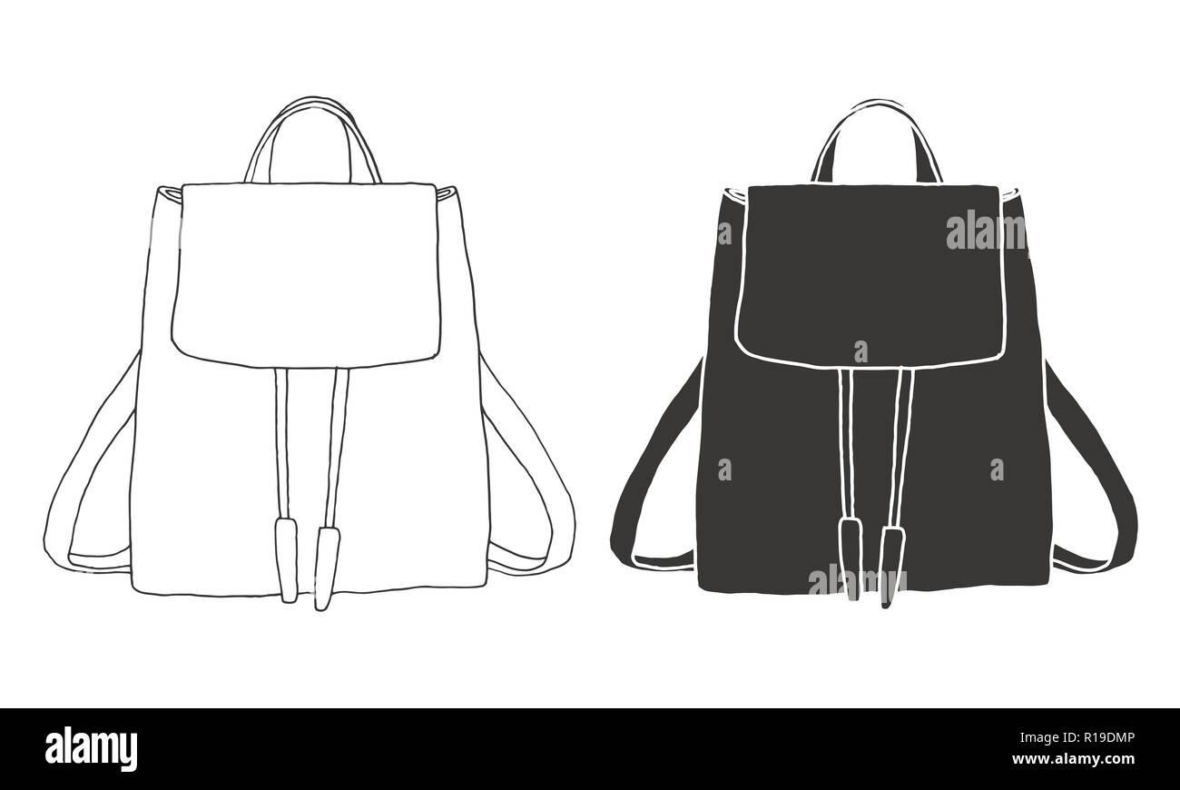 dac0861959a Sketch of a rucksack. Backpack isolated on white background. Vector  illustration of a sketch style.