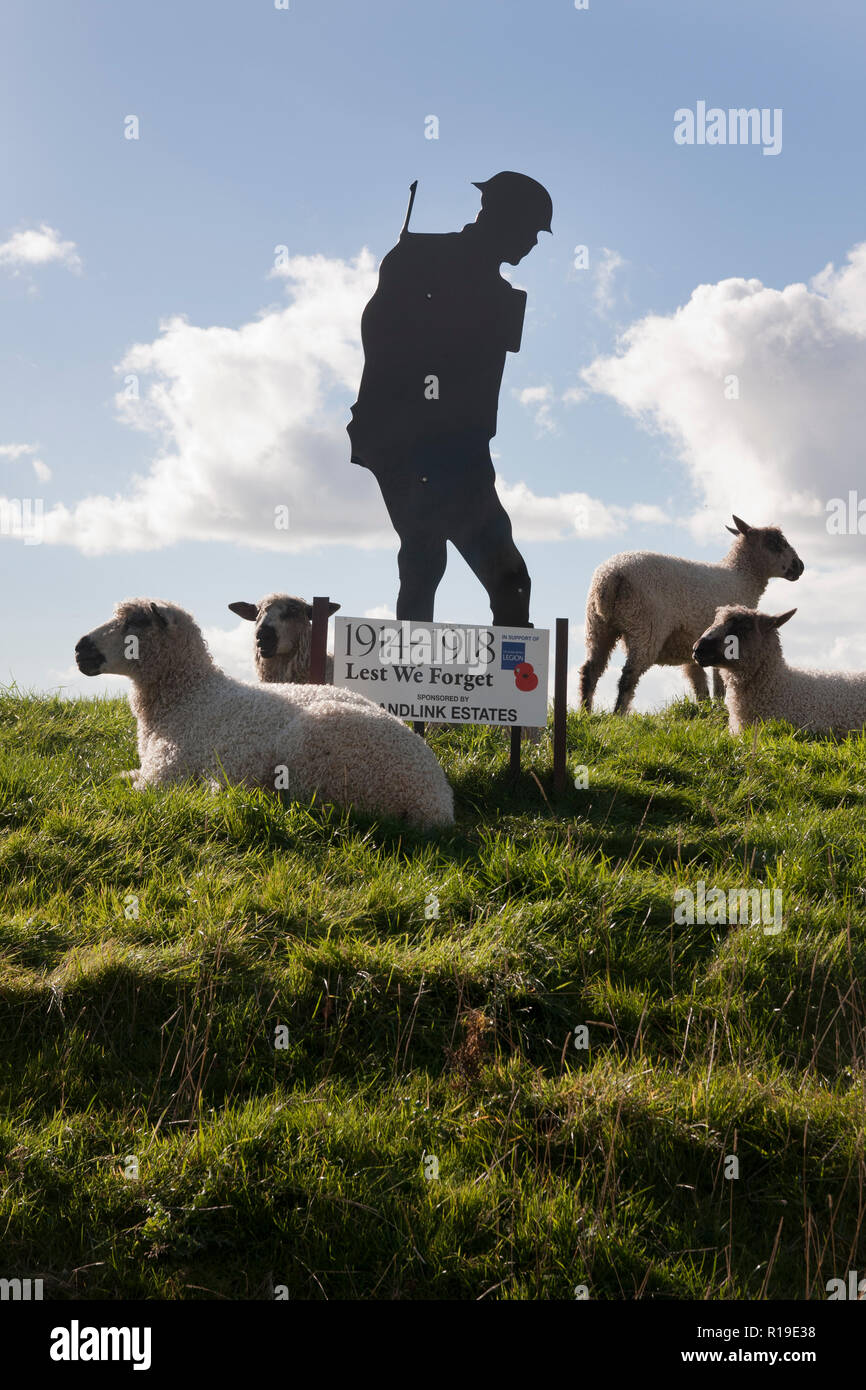 Lest We Forget WW1 memorial surrounded by sheep in Yapton & Barnham, West Sussex Stock Photo