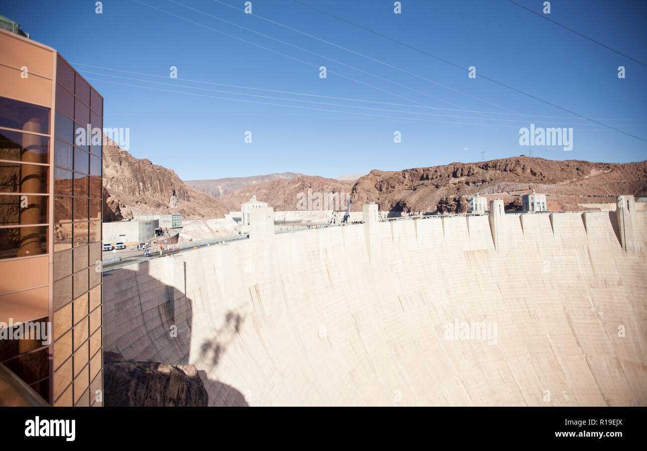 view of the enormous hoover dam walls - Stock Image
