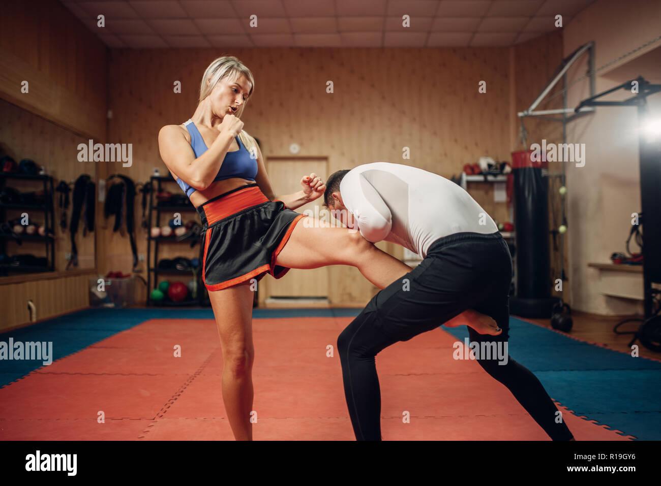 Asian girls groin kicking