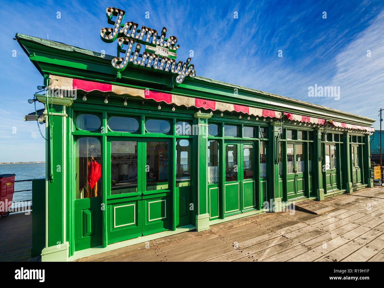 Jamie and Jimmy's restaurant on Southend Pier. - Stock Image