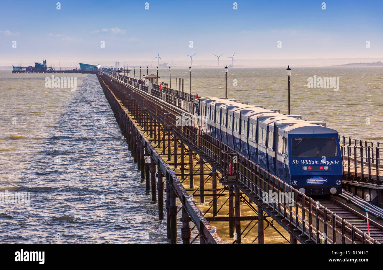 Southend Pier and train. - Stock Image
