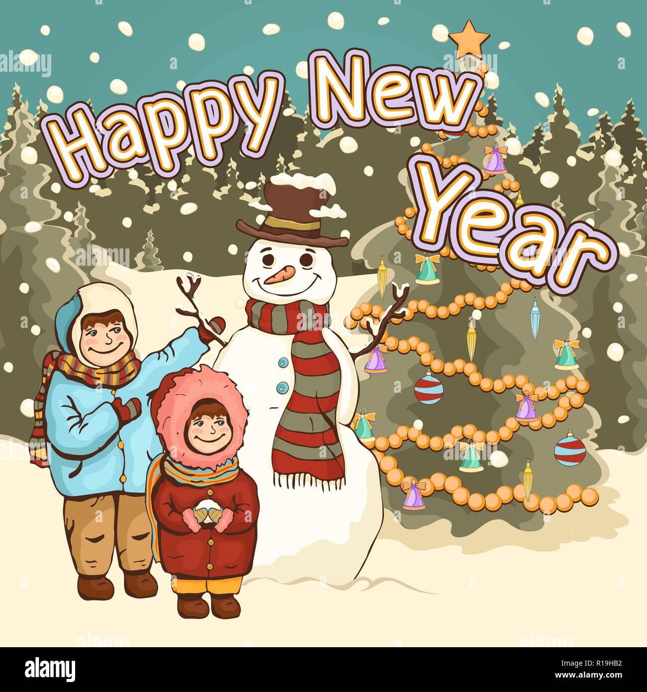 children make snowman happy new year card poster cartoon colorful drawing vector illustration cute boy and girl funny snowman on the background