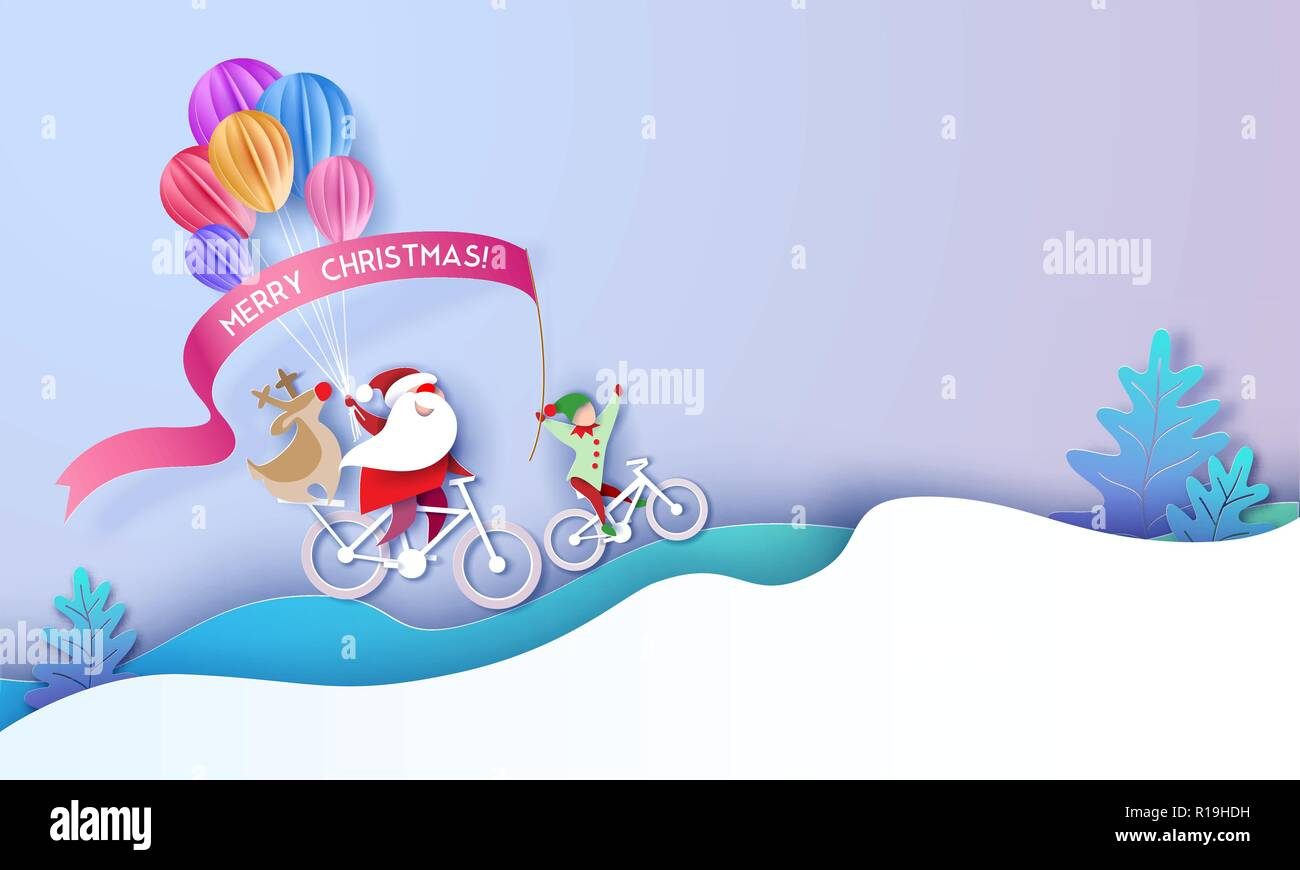 Merry Christmas Design Card With Santa Claus And Elf And Deer On