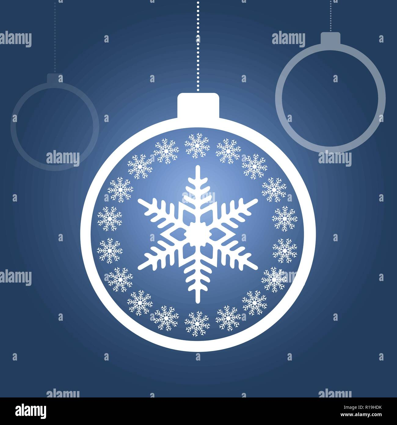 Christmas balls with snowflakes on blue gradient background for ...