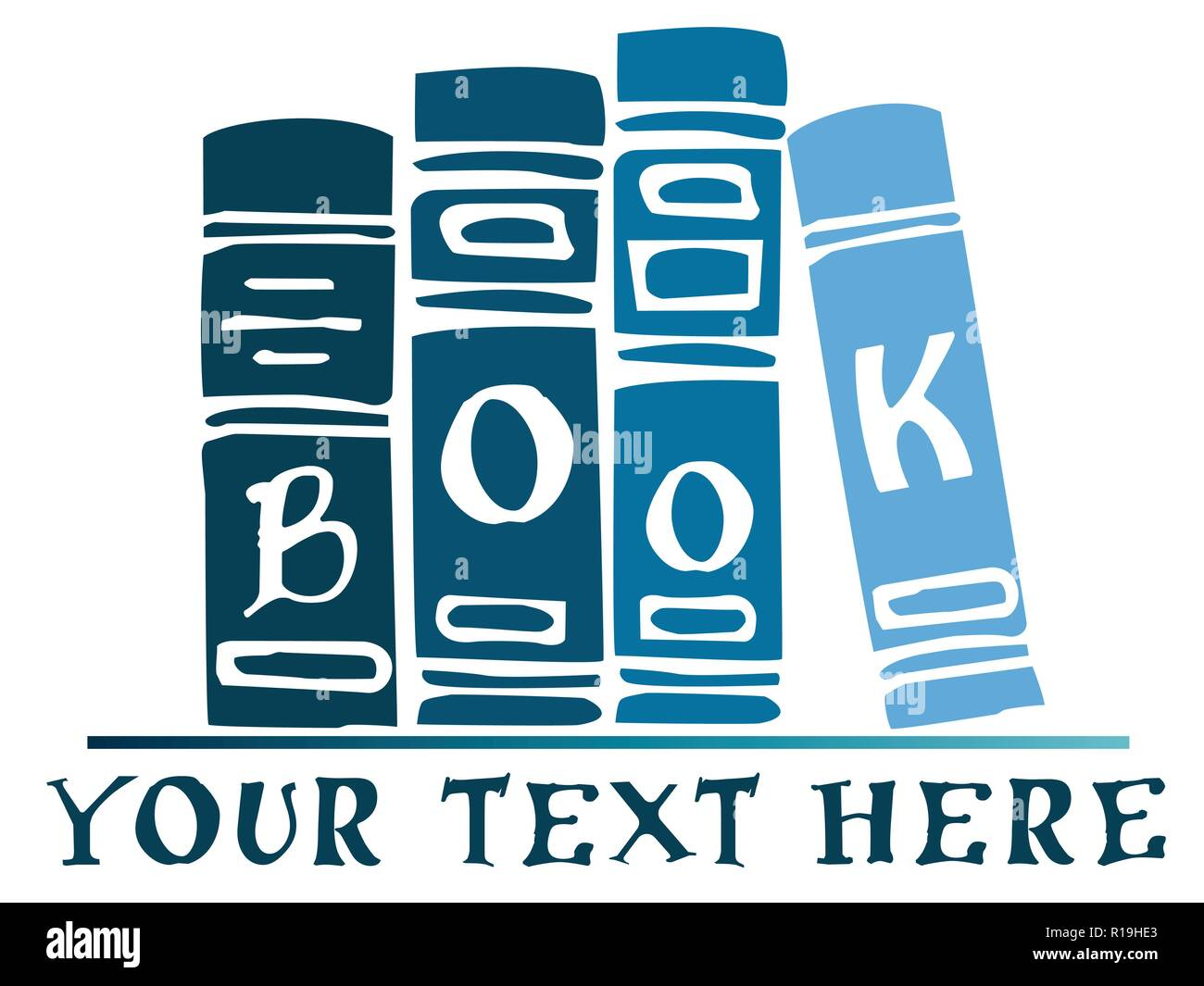 Vector blue books on a shelf banner, illustration. Add your text - Stock Image