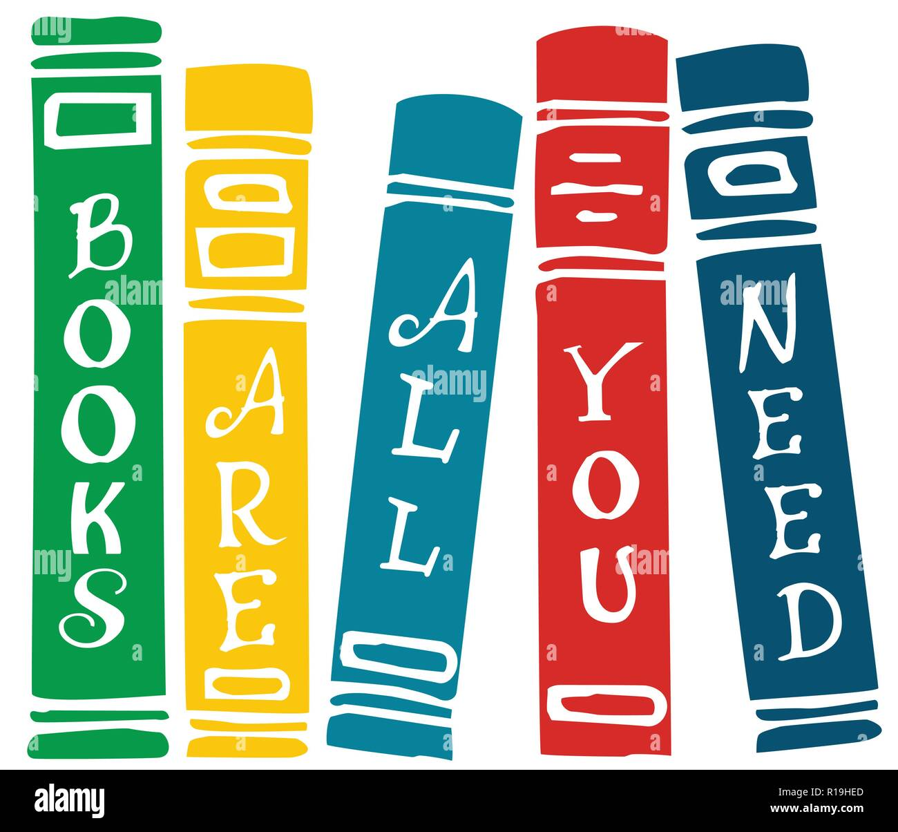 Books are all you need lettering on colorful vector set of book covers Stock Vector