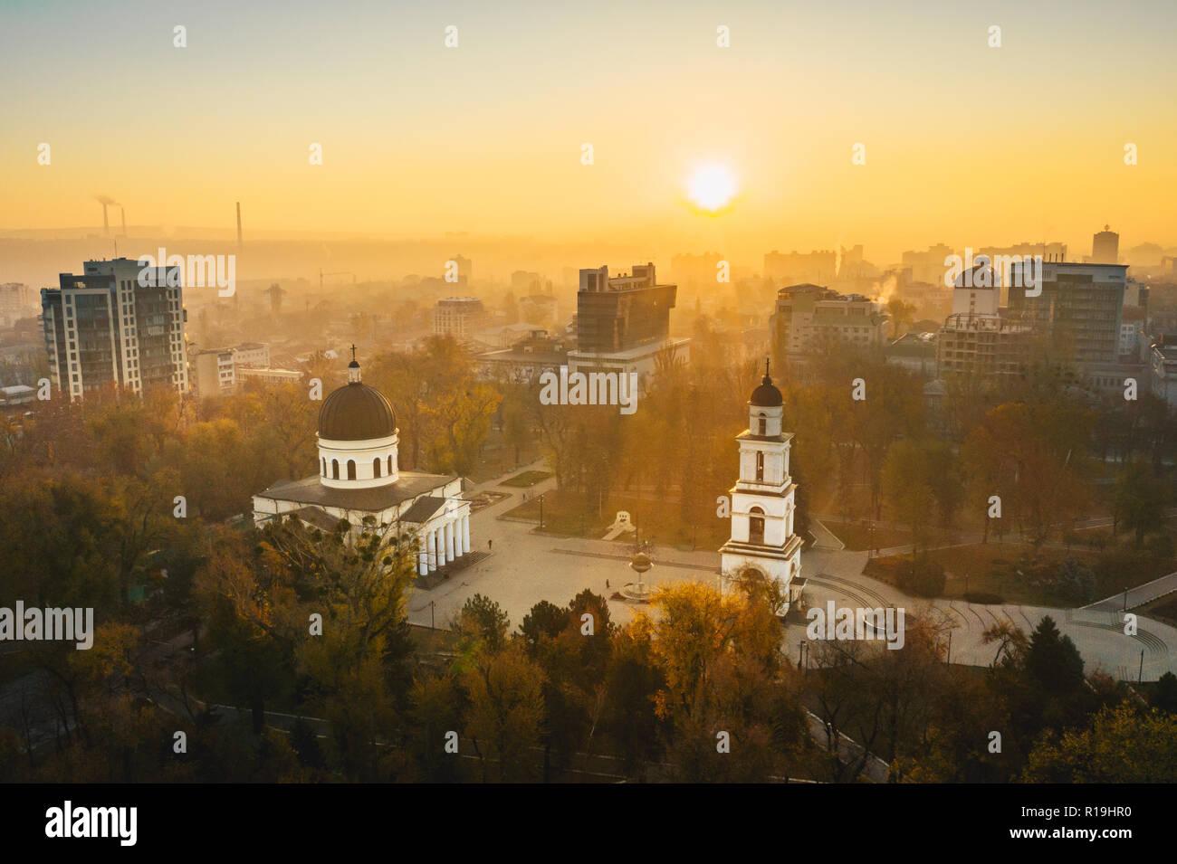 Sunrise in Chisinau Moldova Republic - Stock Image