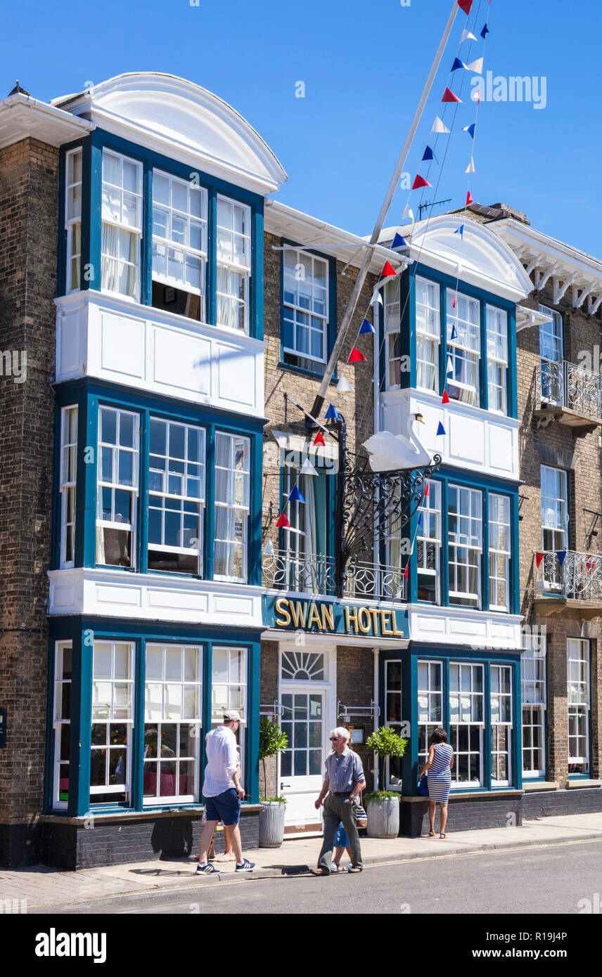 Southwold Suffolk The Swan Hotel High street Southwold built in the 1600's iconic hotel in Southwold Suffolk England UK GB Europe - Stock Image