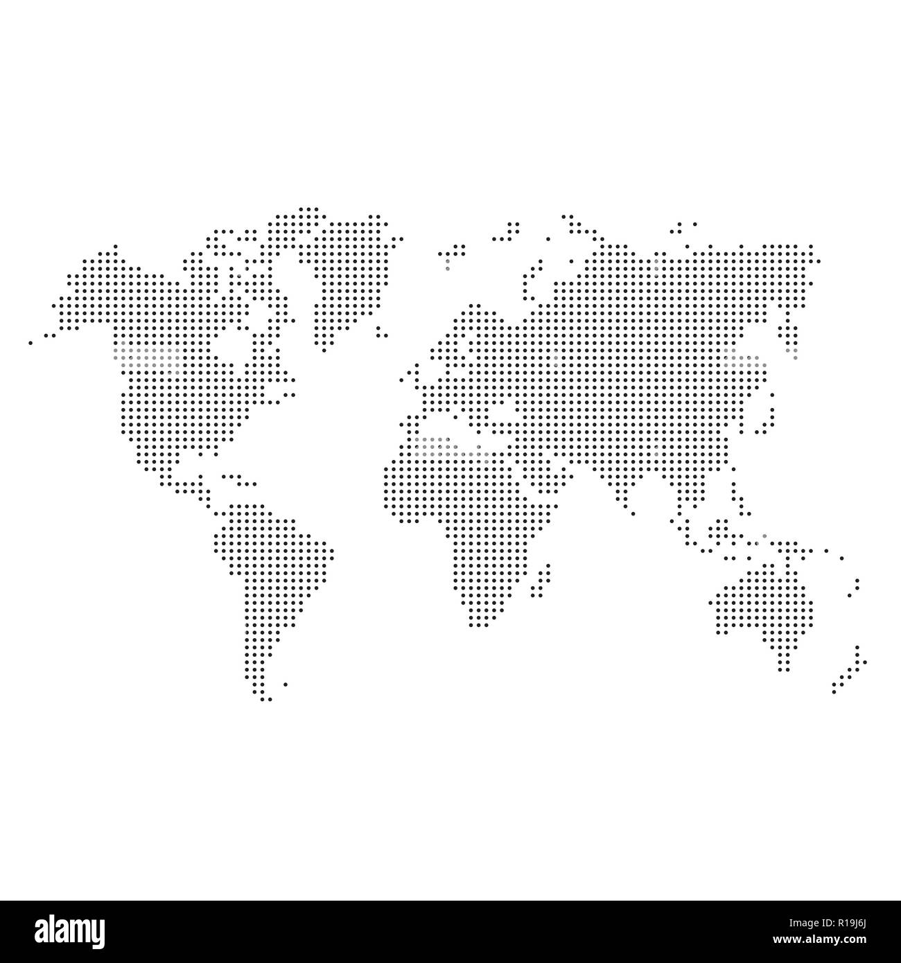 Black dotted silhouette of world map isolated on white background - Stock Image