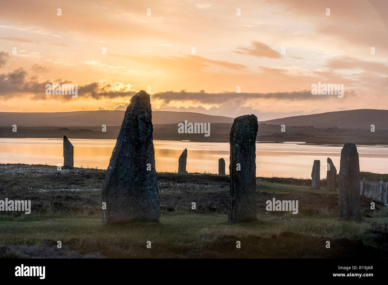 ring of brodgar neolithic standing stones, stone circle - Stock Image