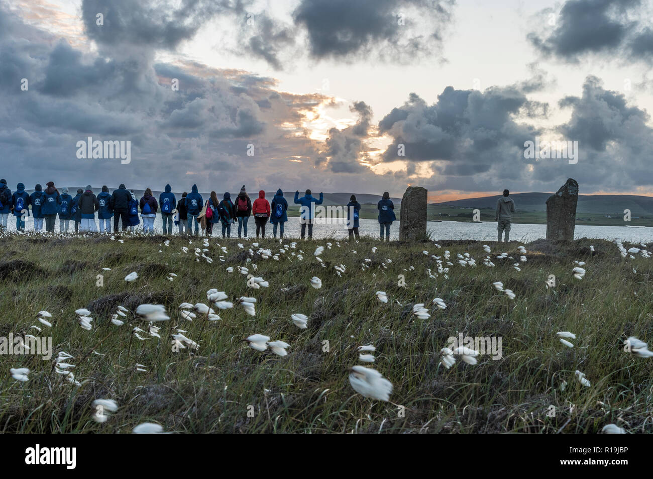 Pagan Gathering at Summer Solstice, Ring of Brodgar, Orkney. - Stock Image