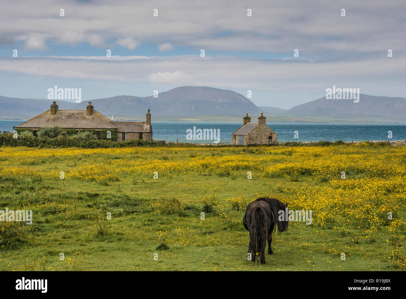 View to Hoy from South Ronaldsay, Orkney - Stock Image