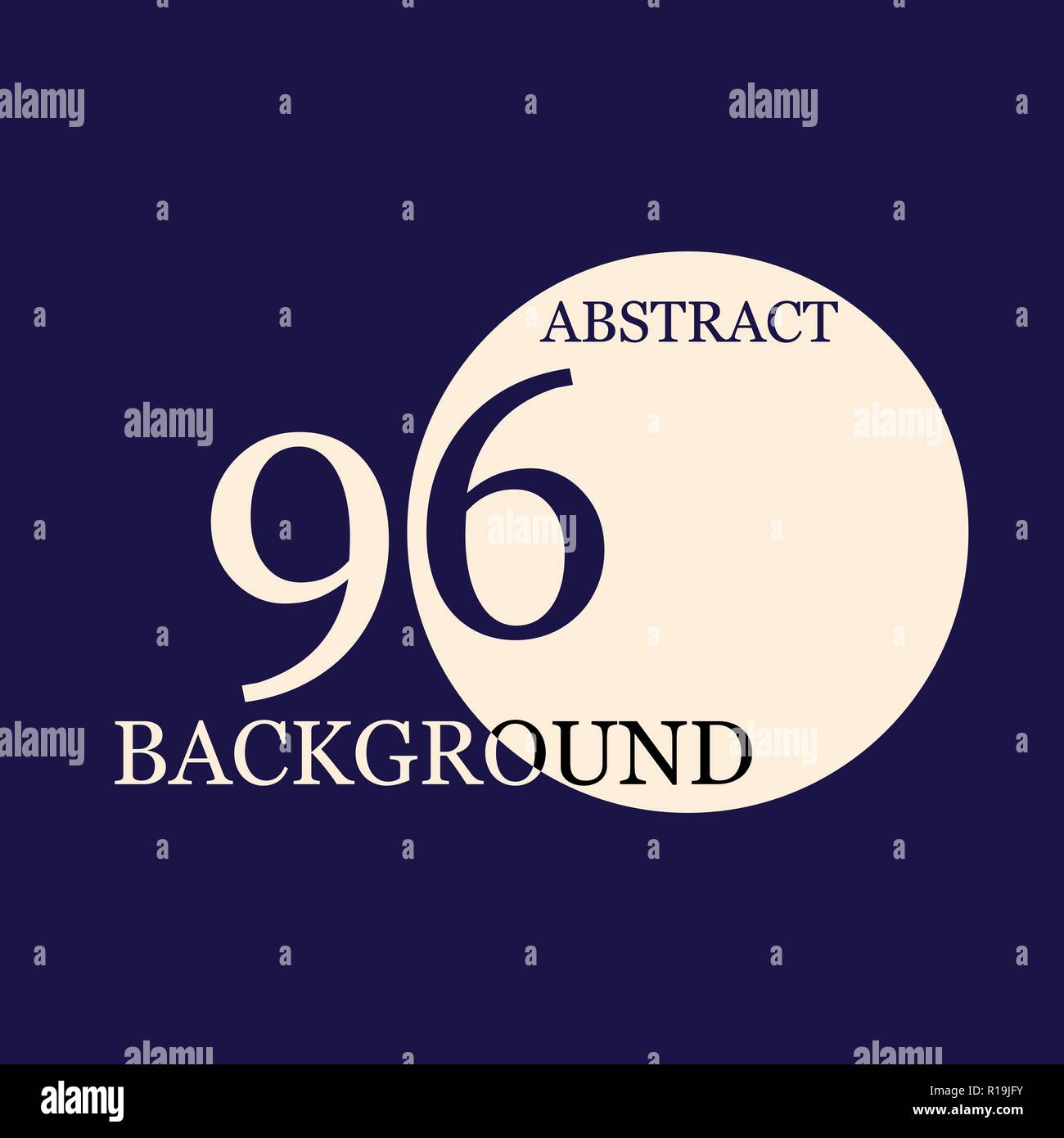 Blue abstract background with 96 number and circle text - Stock Vector
