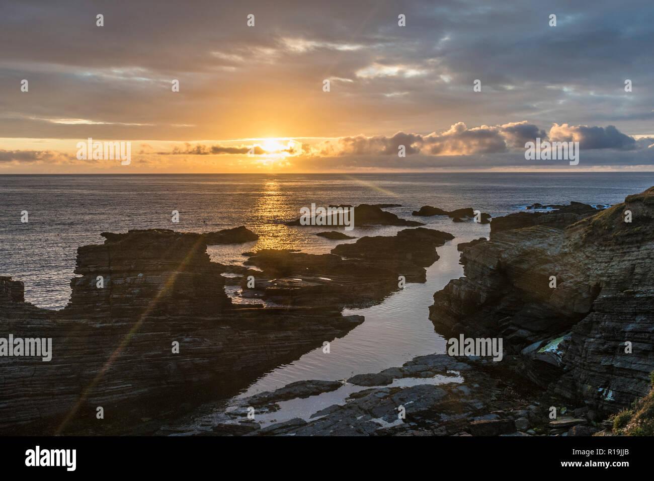 Birsay sunset, orkney Mainland. - Stock Image