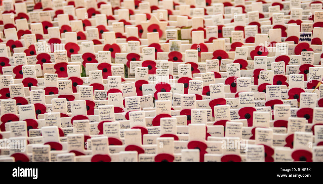 London, UK. 10th Nov, 2018. Lines of crosses at the Westminster Abbey Field of Remembrance. Credit: David Rowe/Alamy Live News Stock Photo