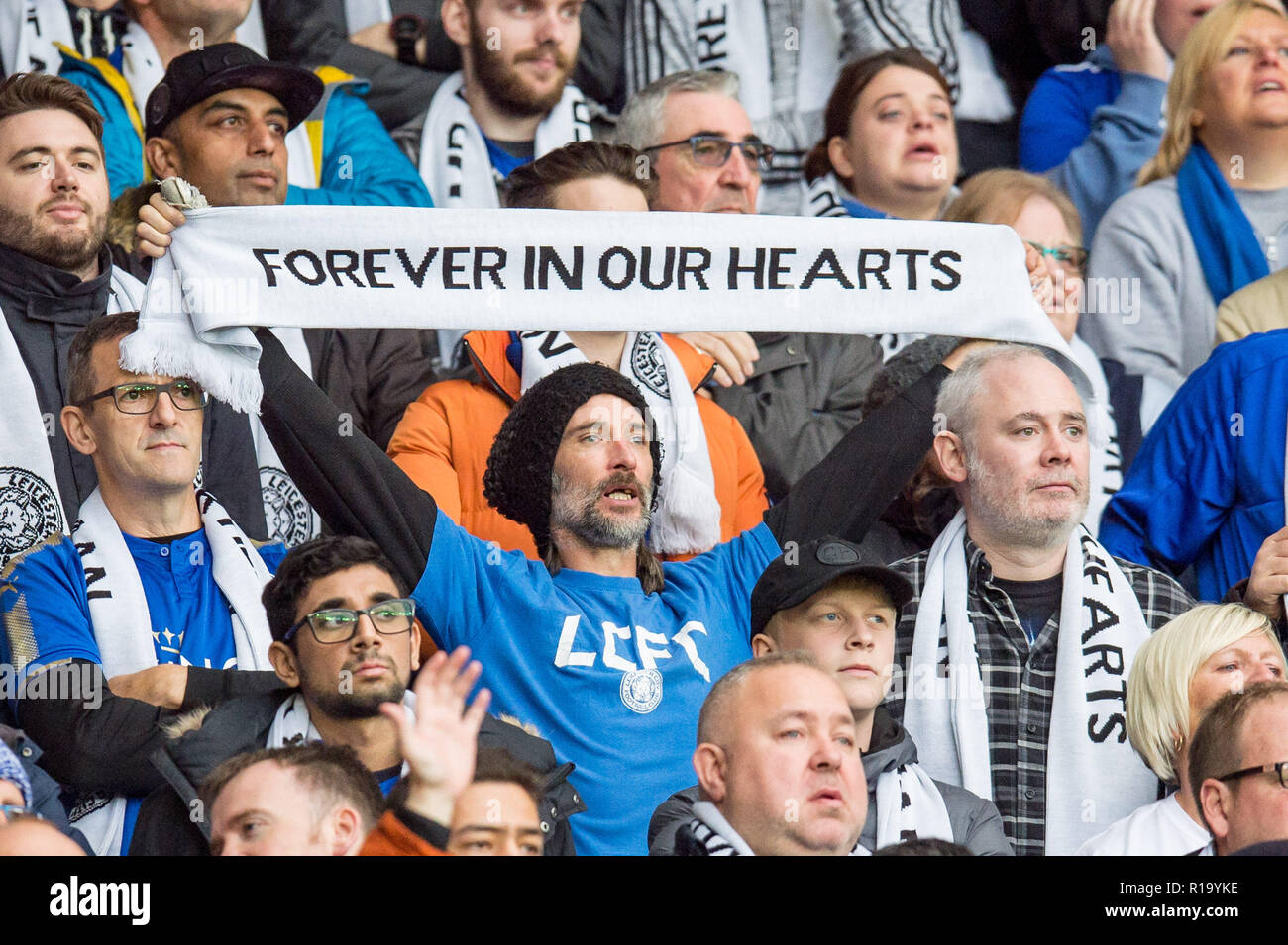Leicester, UK. 10th Nov, 2018. Tearful Leicester fans during a tribute to their late chairman before the Premier League match between Leicester City and Burnley at the King Power Stadium, Leicester, England on 10 November 2018. Photo by Matthew Buchan.  Editorial use only, license required for commercial use. No use in betting, games or a single club/league/player publications. Credit: UK Sports Pics Ltd/Alamy Live News - Stock Image