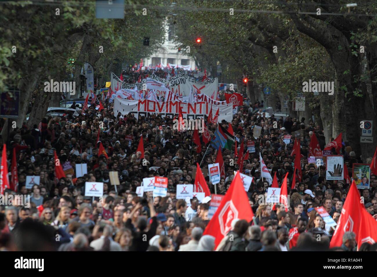 Rome, Italy - 10 November 2018 - The anti-fascist and anti-racist procession and against the Salvini Decree parades its via Meruluna - Stock Image