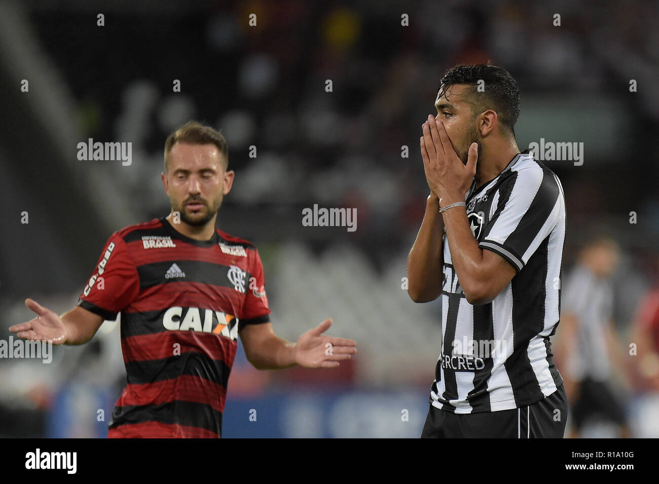 RJ - Rio de Janeiro - 10/11/2018 - Brazilian A 2018, Botafogo x Flamengo -Brenner Botafogo player regrets missed chance during match against Flamengo at the Engenhao stadium for the Brazilian championship A 2018. Photo: Thiago Ribeiro / AGIF - Stock Image