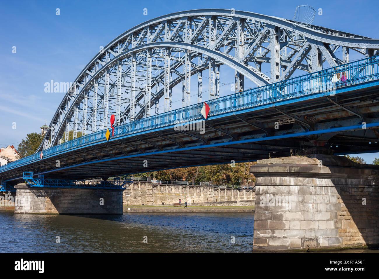 Jozef Pilsudski Bridge on Vistula river in Krakow, Poland