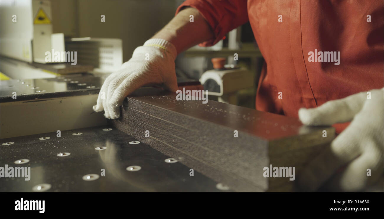 Plank Of Wood In Timber Processing Plant Stock Photos