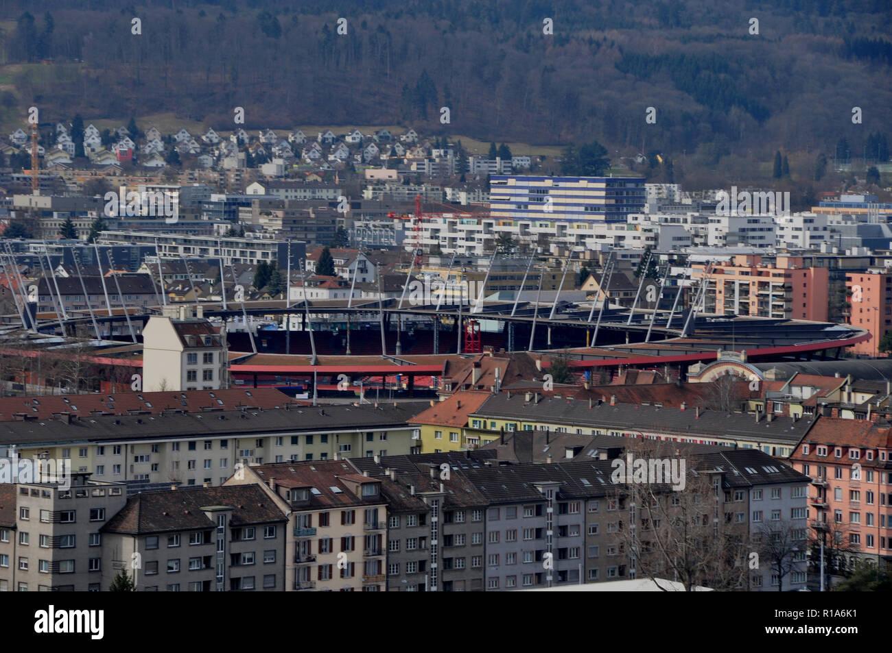 Switzerland: View from Prime Tower to the Letzigrund-Sportstadion in Zürich - Stock Image