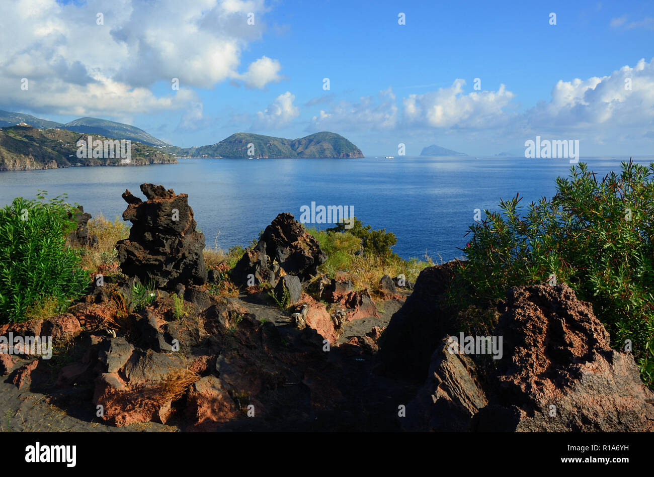 Aeolian Islands, Sicily, Italy. Island of Vulcano, the Valle dei mostri ( En. Monsters Valley).  The valley is characterized by volcanic rocks with grotesque and frightening figures, where everyone's imagination can identify monsters, wild beasts and disquieting figures. Stock Photo