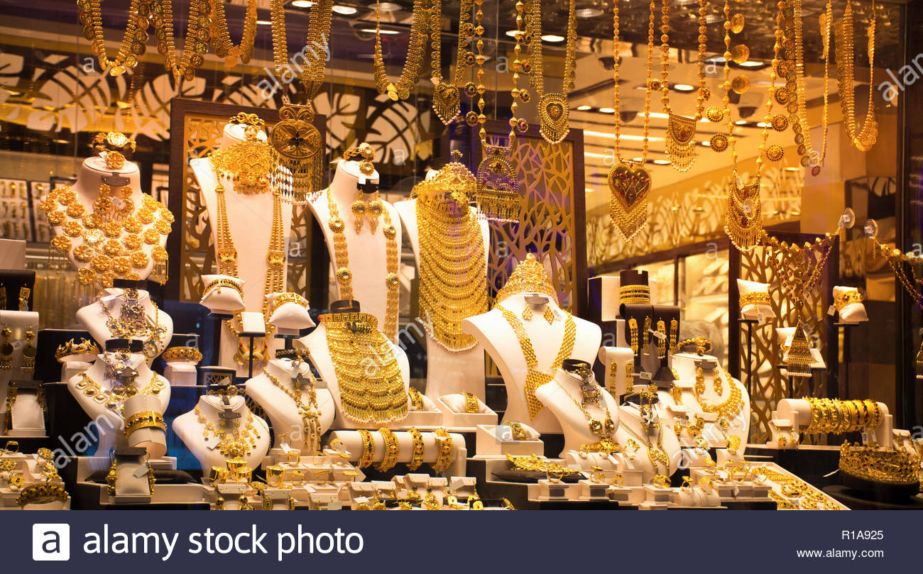 All Gold ornaments in a shop, Gold Souk Famous tourist attraction of Dubai - Stock Image
