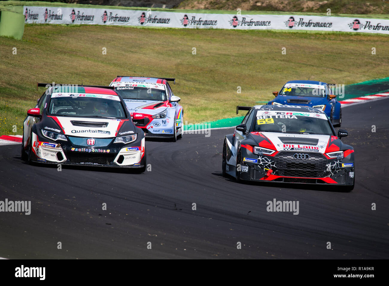 Vallelunga, Rome, Italy september 16 2018, Aci racing weekend. Front view full length of Audi RS3 and Honda Civic touring cars in action at turn durin - Stock Image