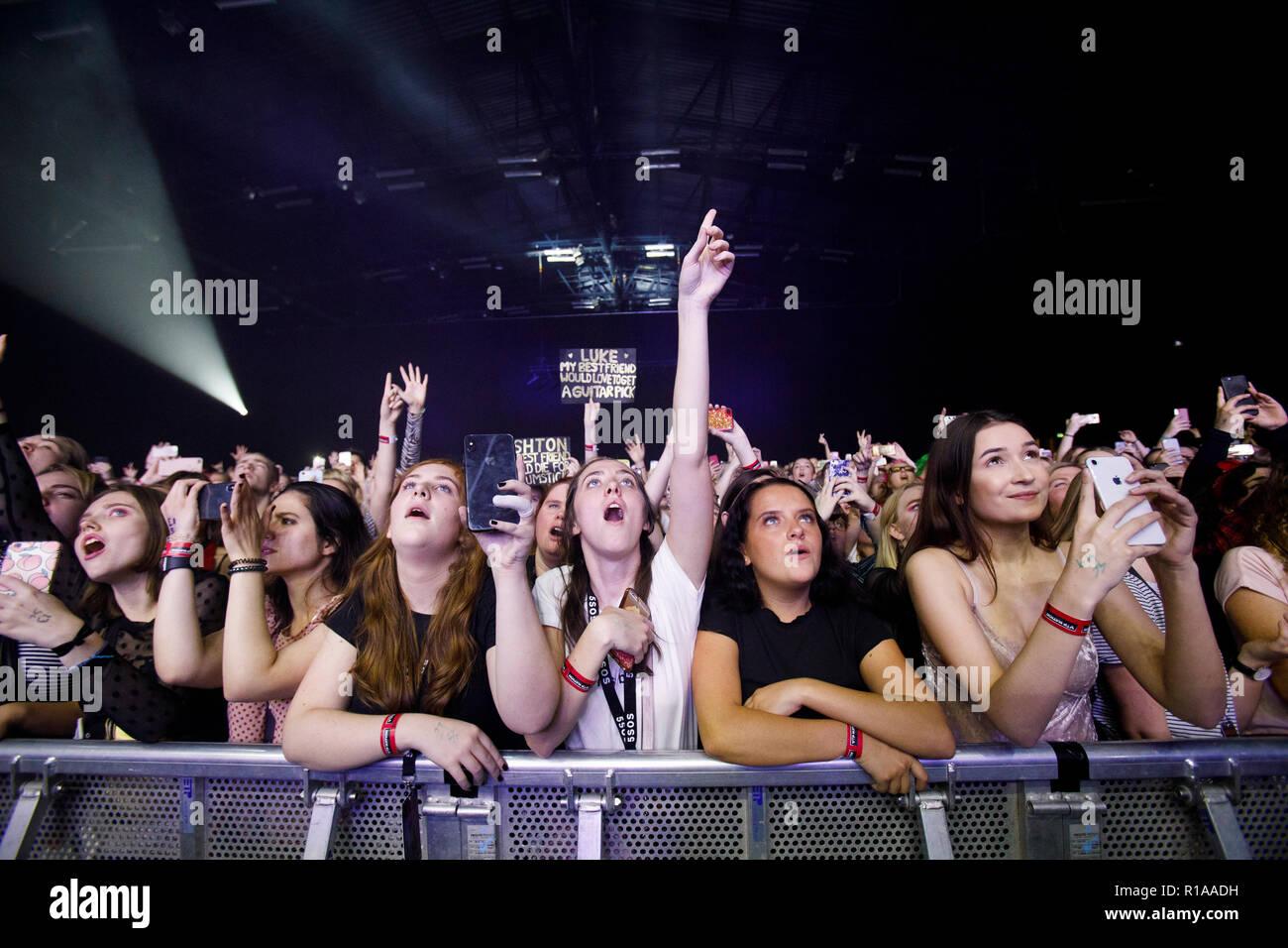 Denmark Copenh November 8 2018 Ecstatic Concert Goers Attend A Live Concert With The Australian Pop Rock Band 5 Seconds Of Summer At Forum Black