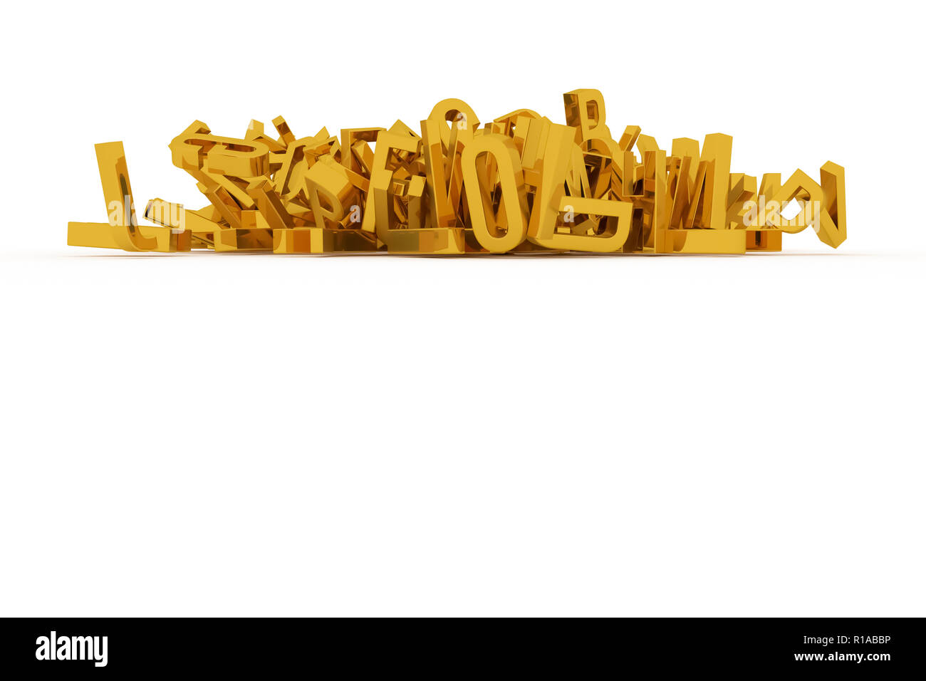 Decorative, illustrations CGI typography, letter of ABC, alphabet. Good for design texture, background. Golden 3D rendering. Stack, wallpaper, mess &  - Stock Image
