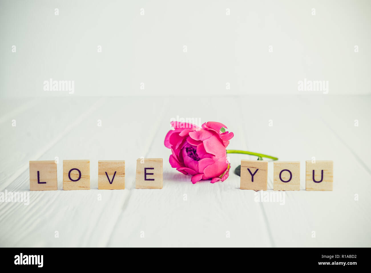 Message I love you spelled in wooden blocks with pink peony bud flower on white wooden table. Love, Valentines day background. Gift, greeting, complim Stock Photo