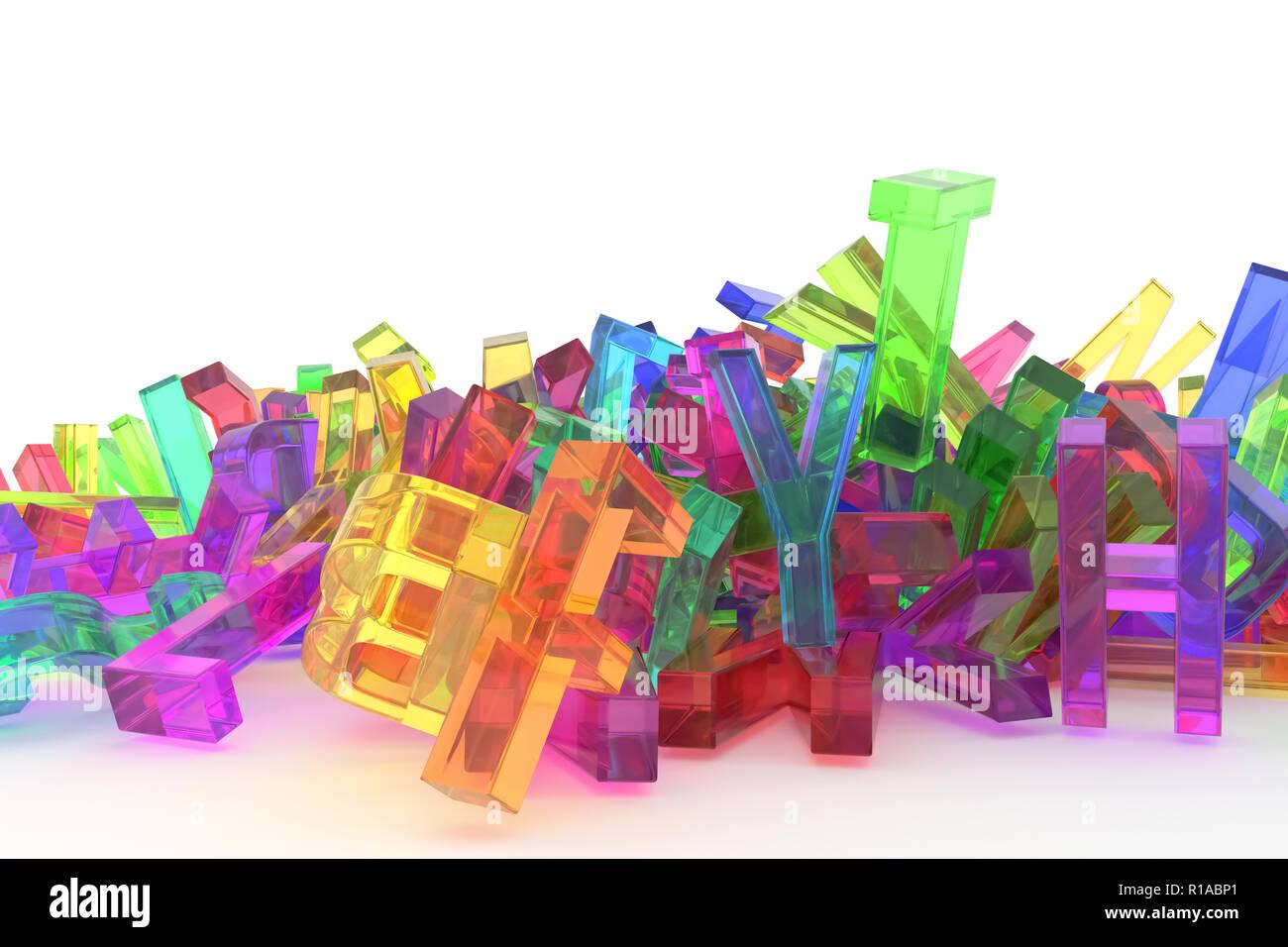 Decorative, illustrations CGI typography, letter of ABC, alphabet