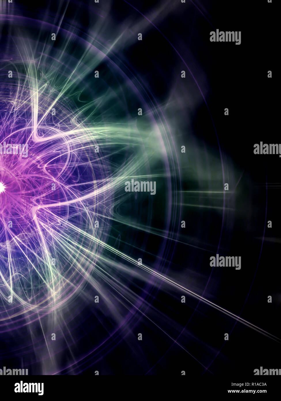 High Energy Particles Collision - Abstract Illustration Stock Photo