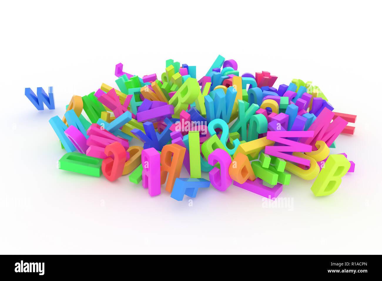 Background abstract CGI typography, good for design, alphabet, letter of ABC. Colorful 3D rendering. Modeling, mess, creativity & backdrop. - Stock Image