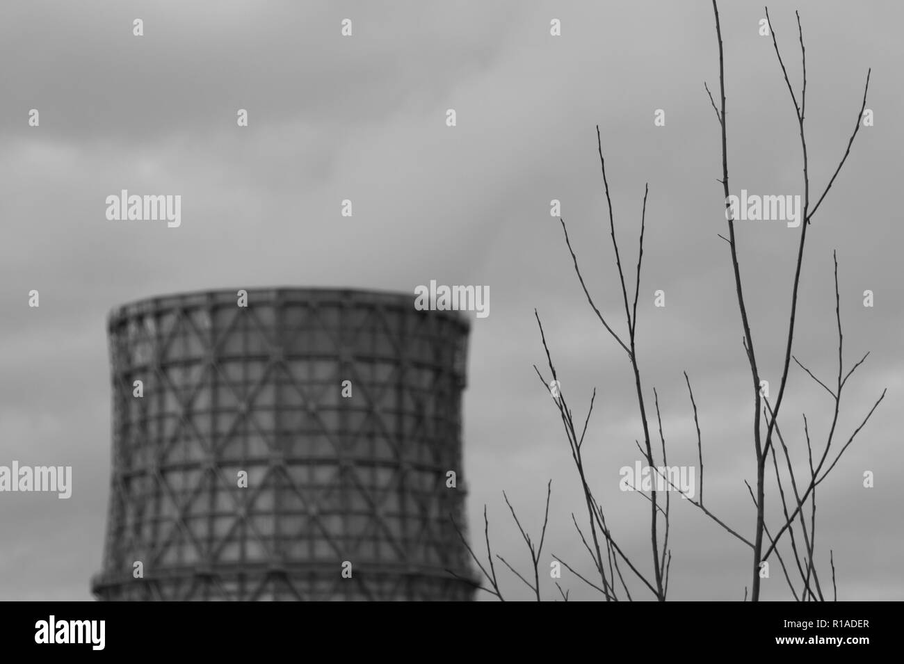 Thermal power plant with smoking chimney. Industrial background - Stock Image