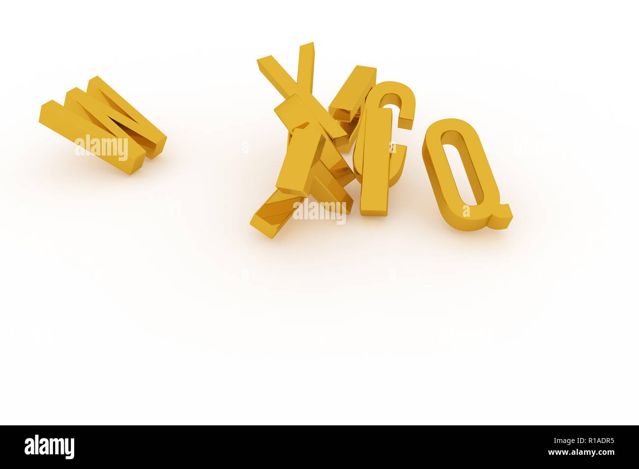 Background abstract CGI typography, good for design, alphabetic character for letter of ABC. Gold color 3D rendering. Illustration, education, mess &  - Stock Image