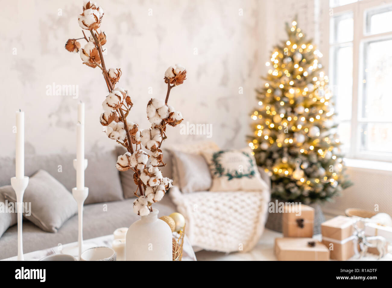 Vase With Cotton Branches Light Living Room With Christmas Tree Comfortable Sofa High Large Windows Stock Photo Alamy