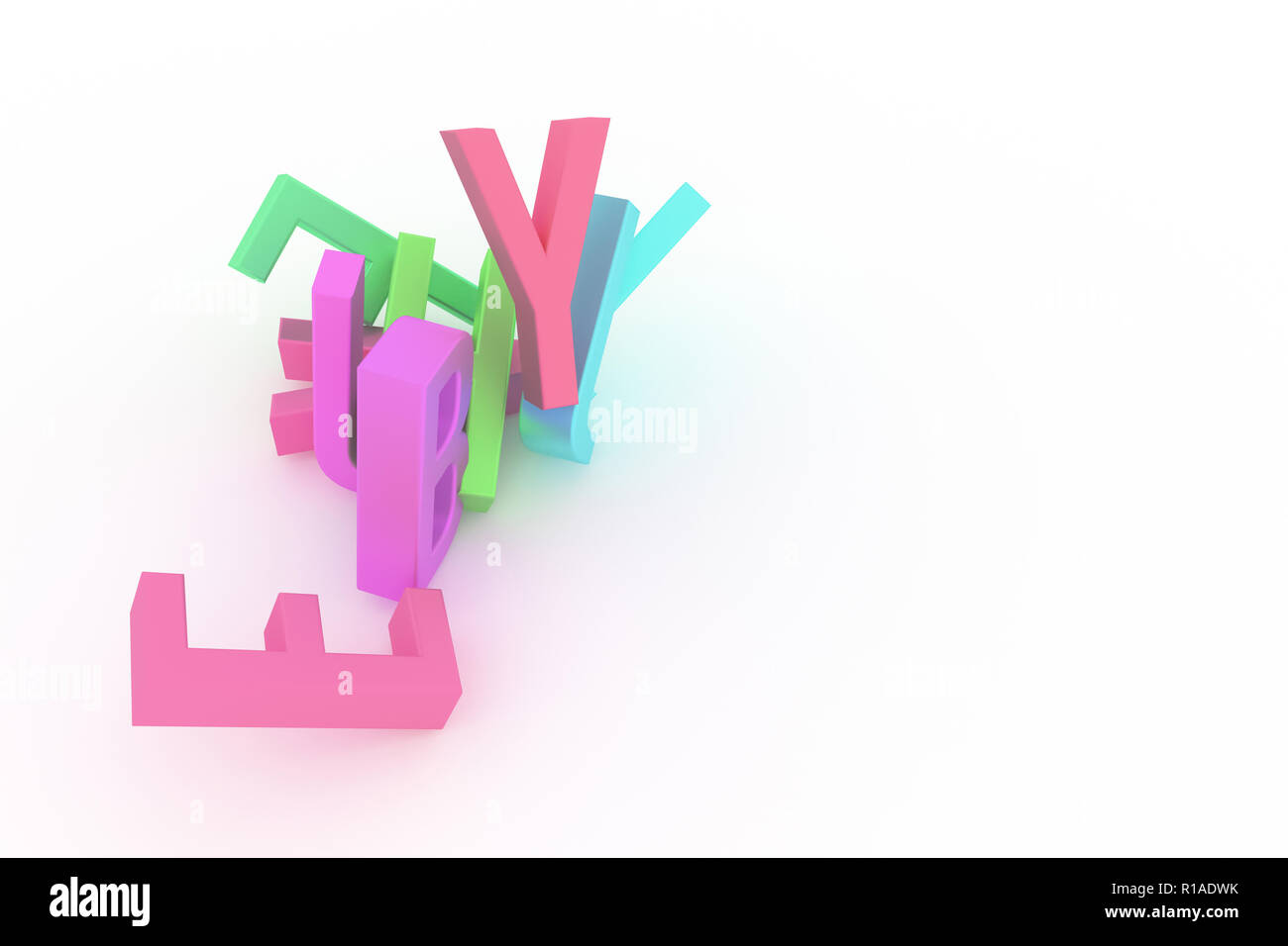 Letter of ABC, alphabetic character. Good for web page, wallpaper, graphic design, catalog, texture or background. Colorful 3D rendering. Mess, shape, - Stock Image