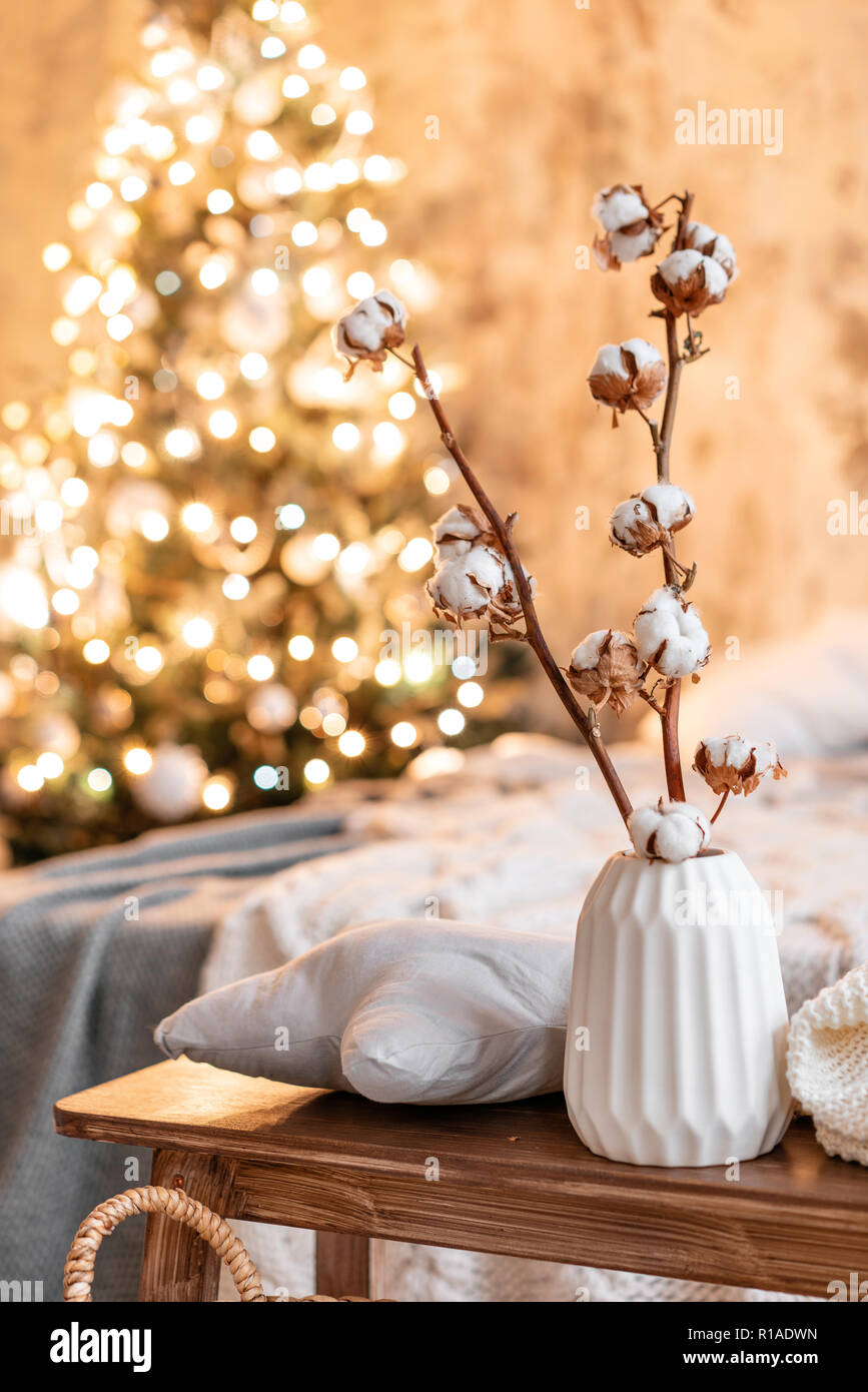 Vase With Cotton Branches Loft Style Apartments Christmas Tree Bed In The Bedroom High Large Windows Stock Photo Alamy