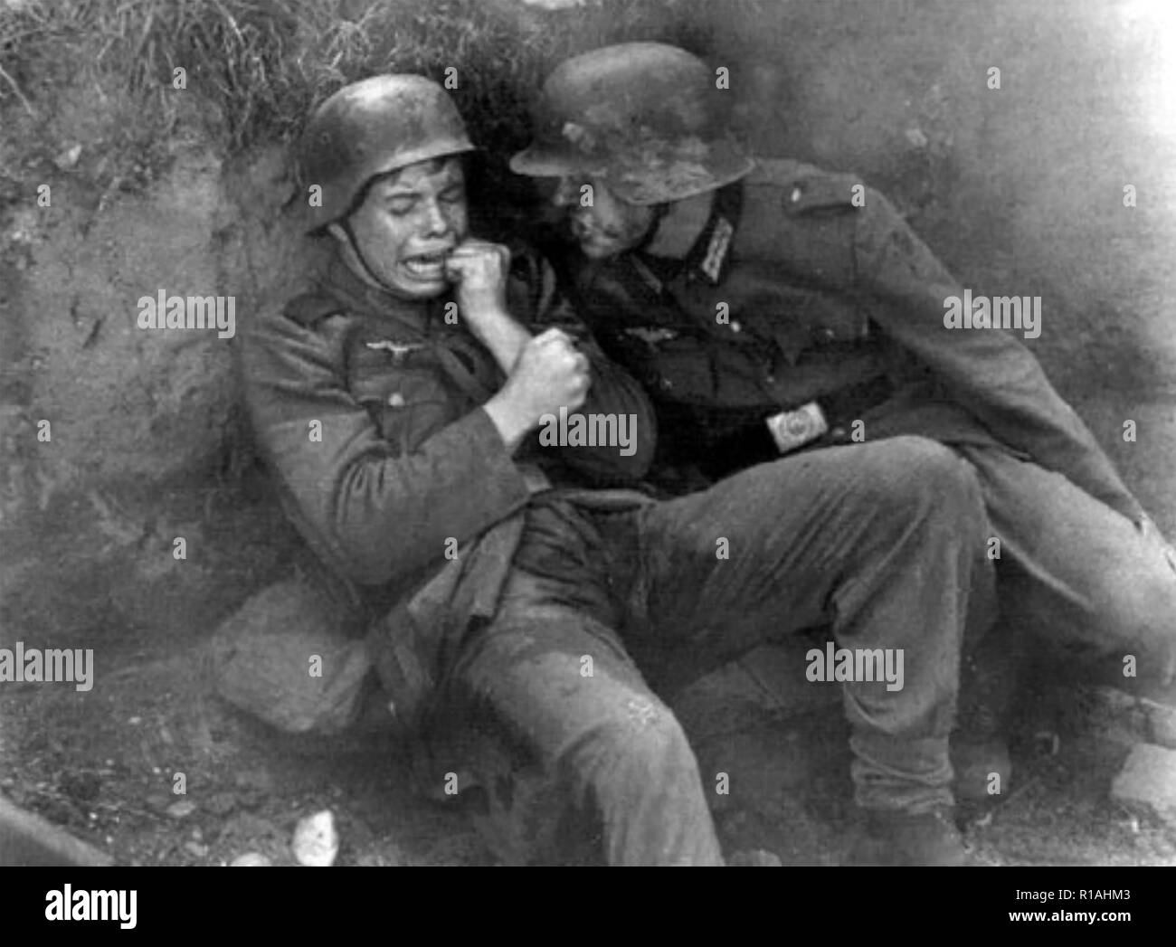 WW1: shell shocked German soldier. Details  unknown. - Stock Image