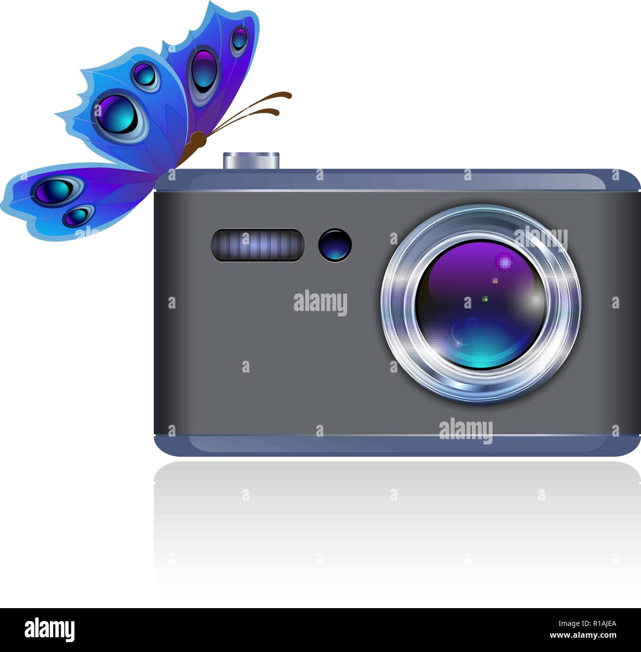 Beautiful butterfly sitting on the digital camera. EPS10, used transparency. - Stock Vector